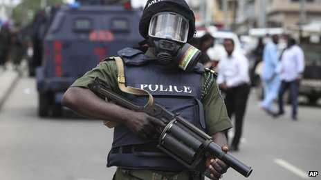 A Nigeria police officer in his duty post